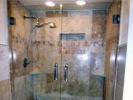 swinging french glass shower doors